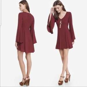 EXPRESS Maroon Red Bell Sleeve Mini Dress | Sz 6
